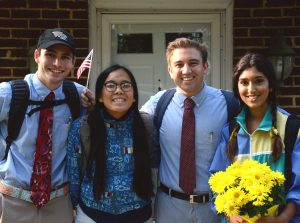 """A few members of the Sust'y House dress up for their """"First Day of School"""" photo, that also hangs in the house."""